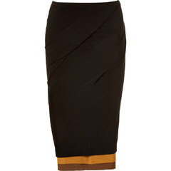 Black Draped Skirt with Layer Optic von Donna Karan.