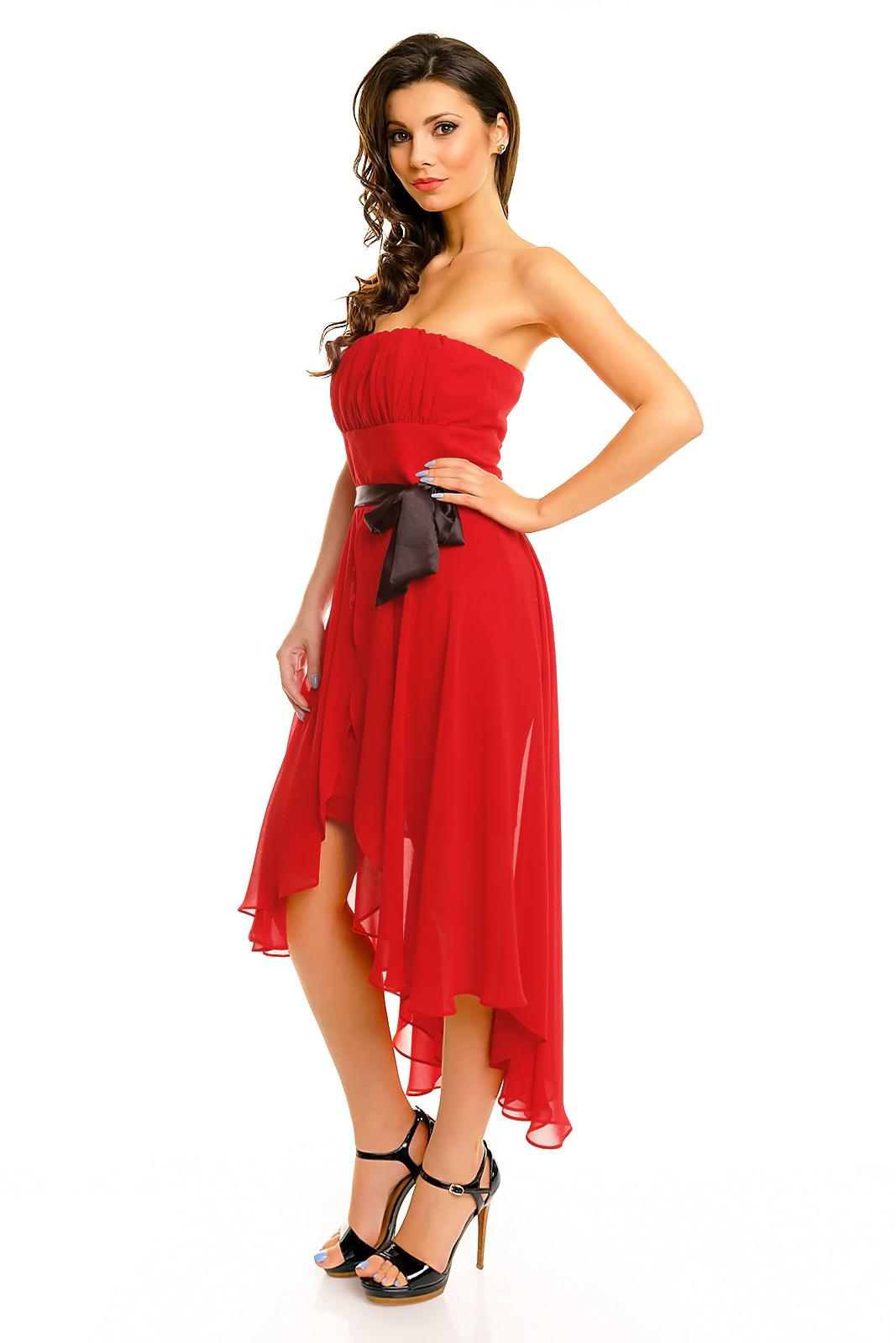 Společenské šaty korzetové MAYAADI s mašlí a asymetrickou sukní červené. 1 296462b19d