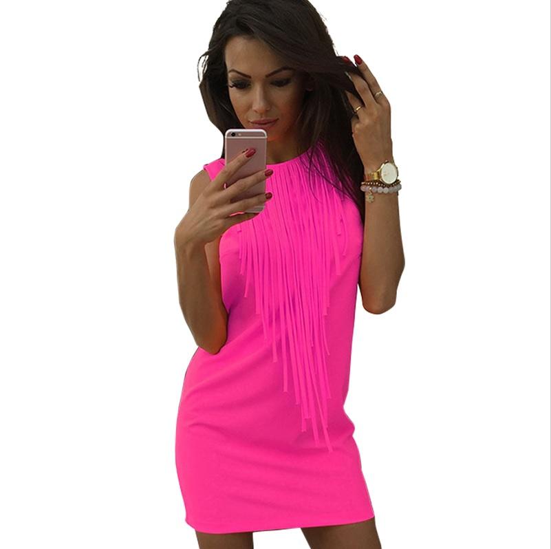 CHM Sexy letní plážové mini šaty s třásněmi růžové - Glami.cz 68b2eee41e