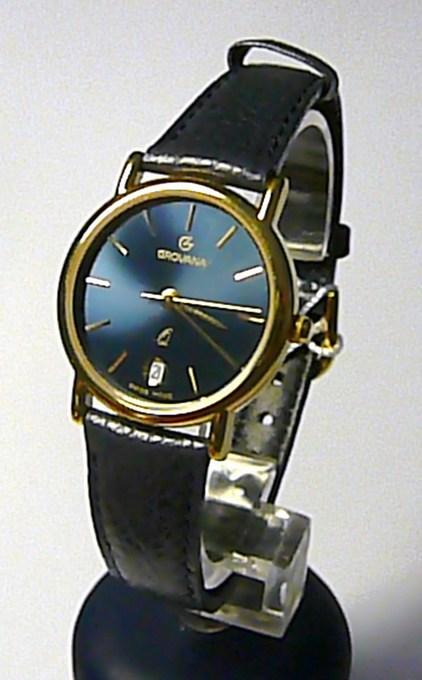 94d001242 Dámské švýcarské luxusní hodinky Grovana 3219.1215 na kůži s tmavě modrým  čísel.