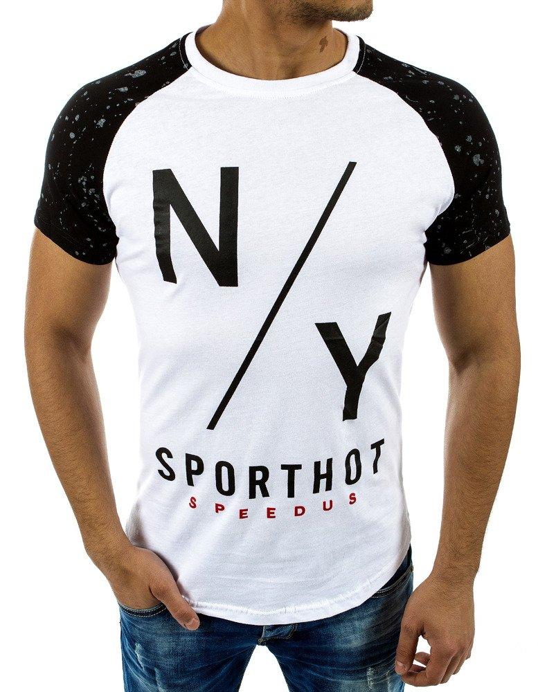 26ed7c5db6cc Biele pánske tričko s potlačou NY Sporthot Speedus - Glami.sk