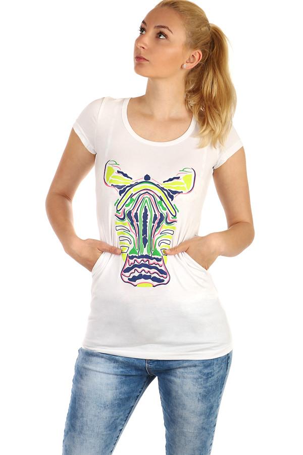 ad016d94592d Glara Dlhé dámske tričko s potlačou zebry - Glami.sk