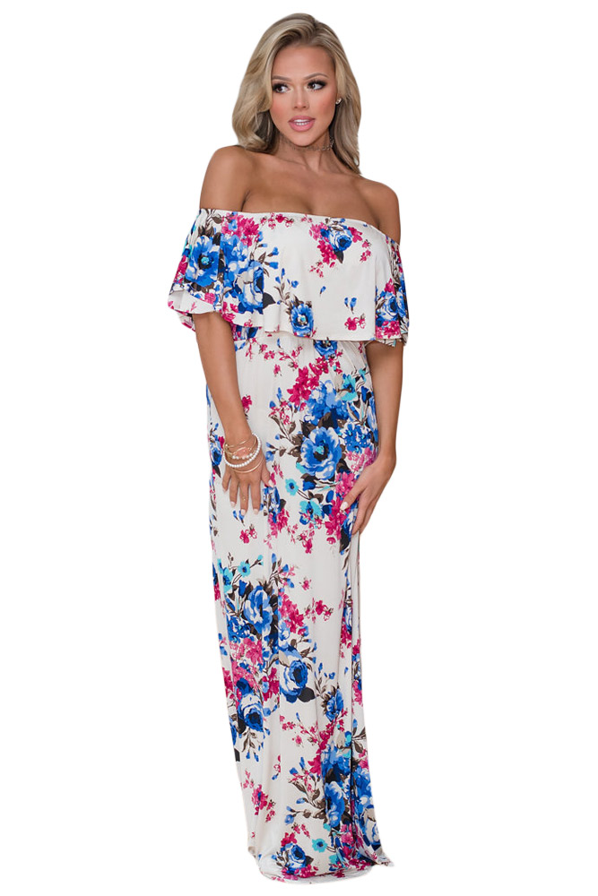 NoName 02 Letní maxi šaty boho květované bílé - Glami.cz 4a4f179fcf0
