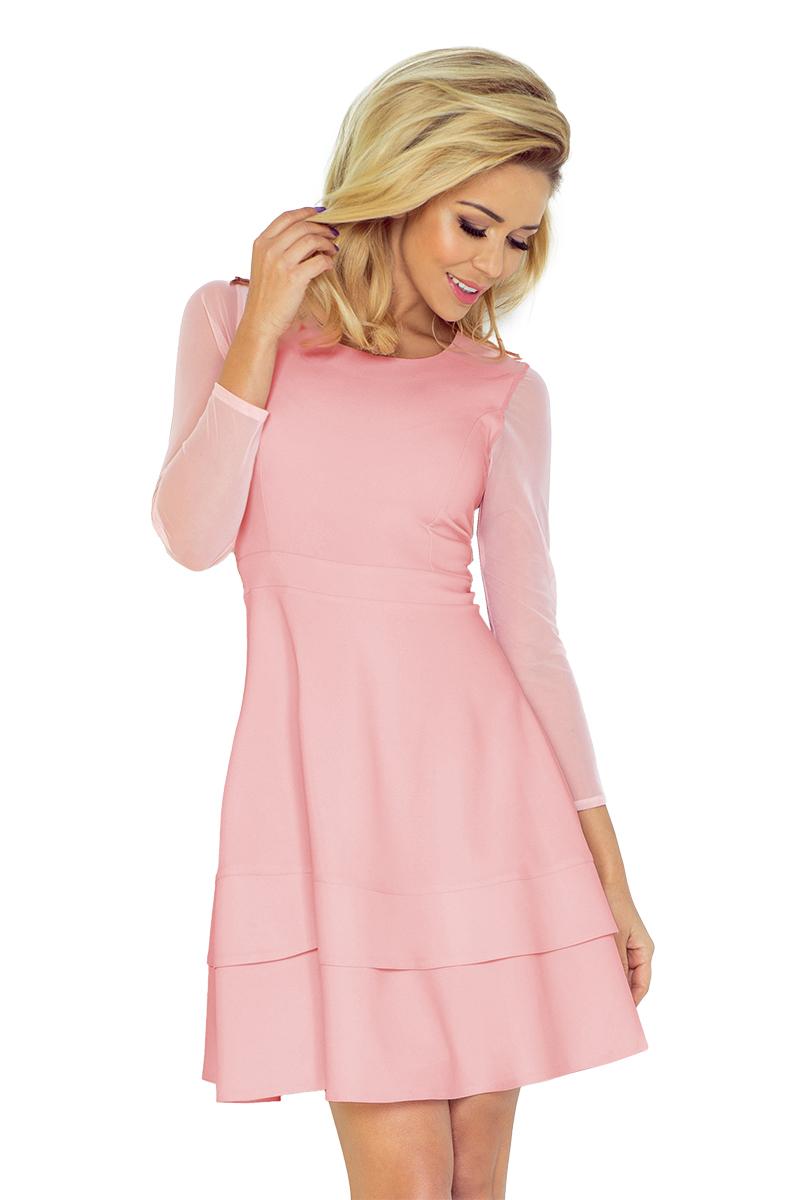 numoco Pastelově růžové šaty s tylovými rukávy 141-7 - Glami.cz 4b33a76b460