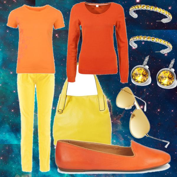 oranžovo-žlutý set na vesmírným podkladě