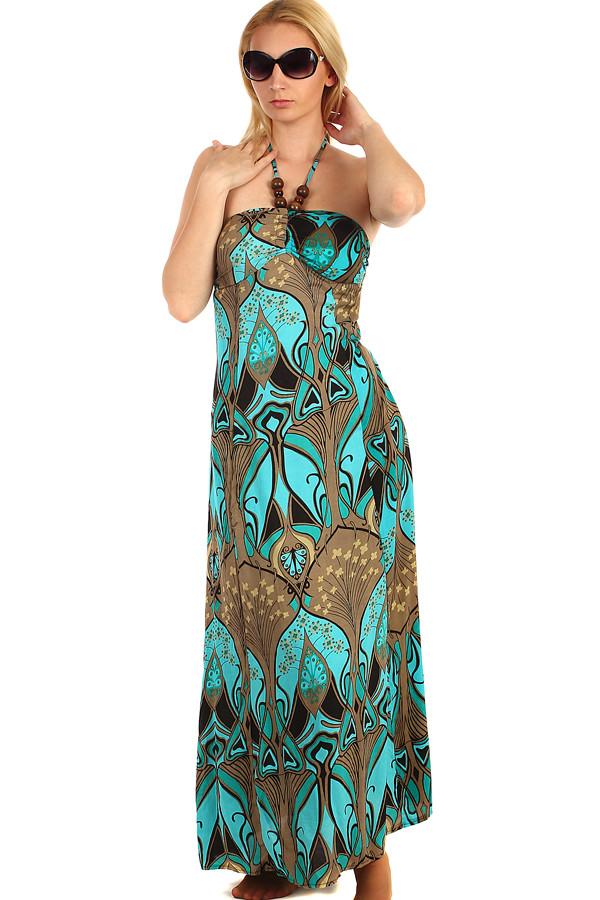 00771a188 Glara Dlhé vzorované šaty so zaväzovaním za krk - Glami.sk