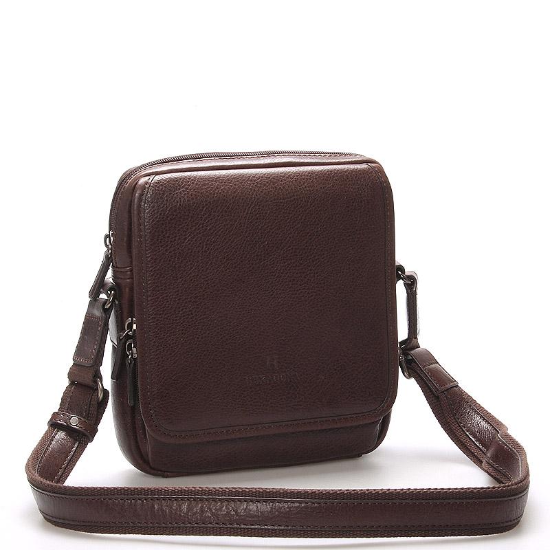 Luxusná hnedá kožená taška cez rameno Hexagona 129898 hnedá - Glami.sk 8516971e38b
