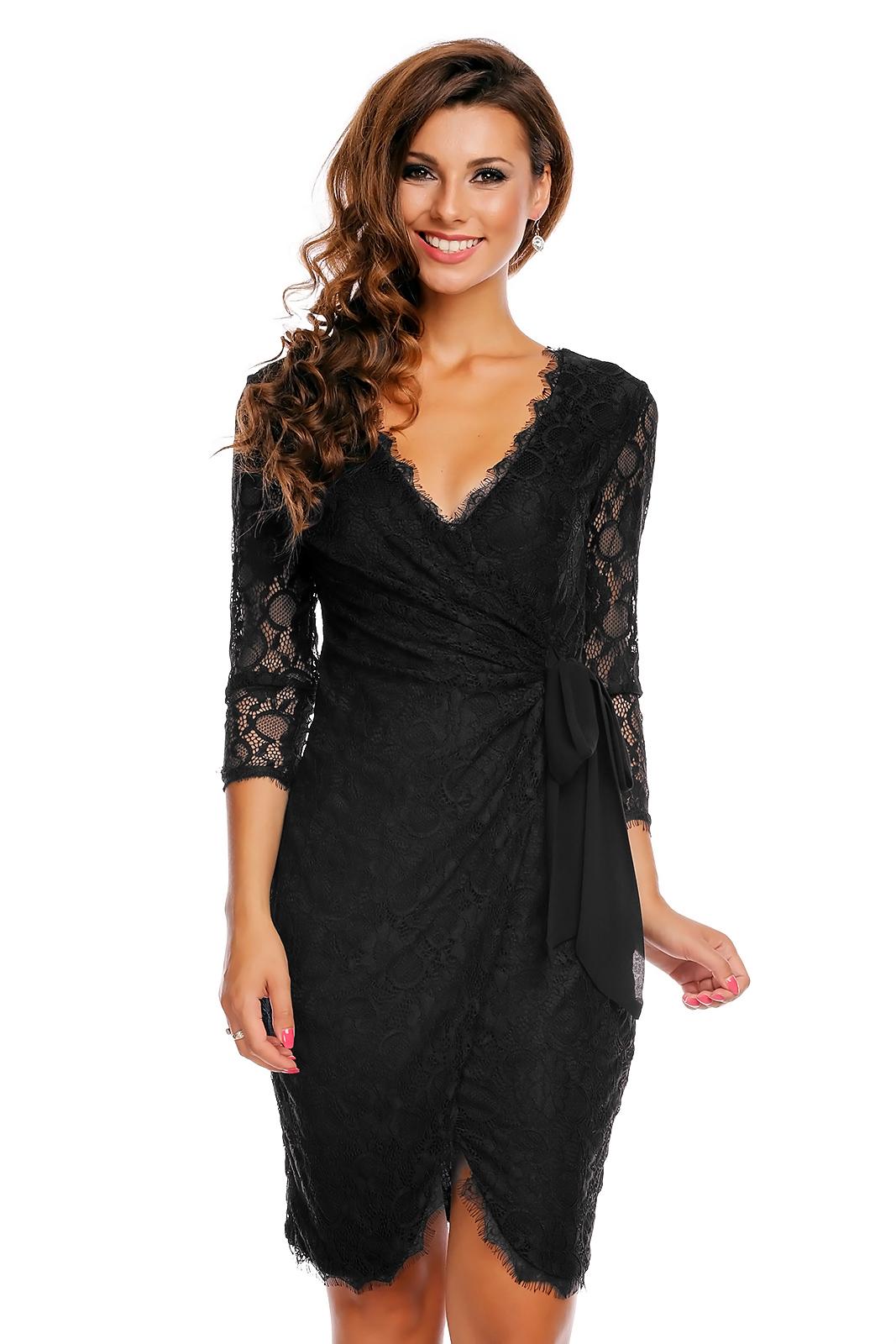 63441ef46039 Společenské a plesové šaty MAYAADI krajkové falešně zavinovací černé ...
