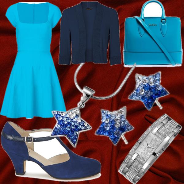 modrý set na rudé látce