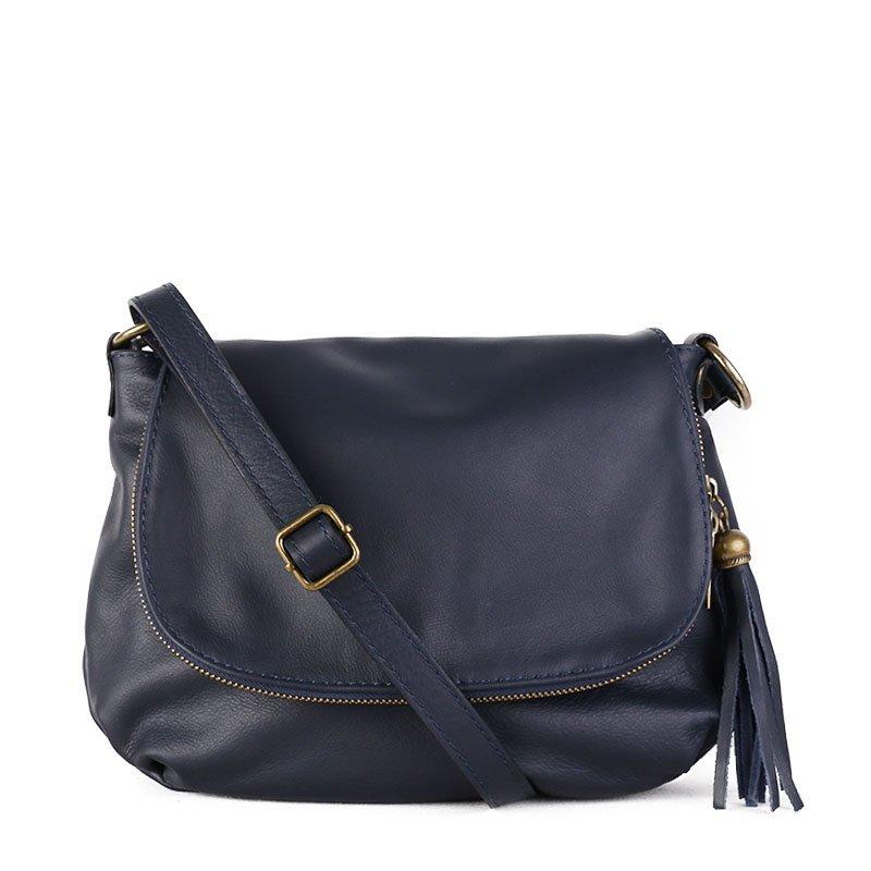 TALIANSKE Talianska stredná dámska kožená kabelka crossbody modrá Angela 501bbb8e054