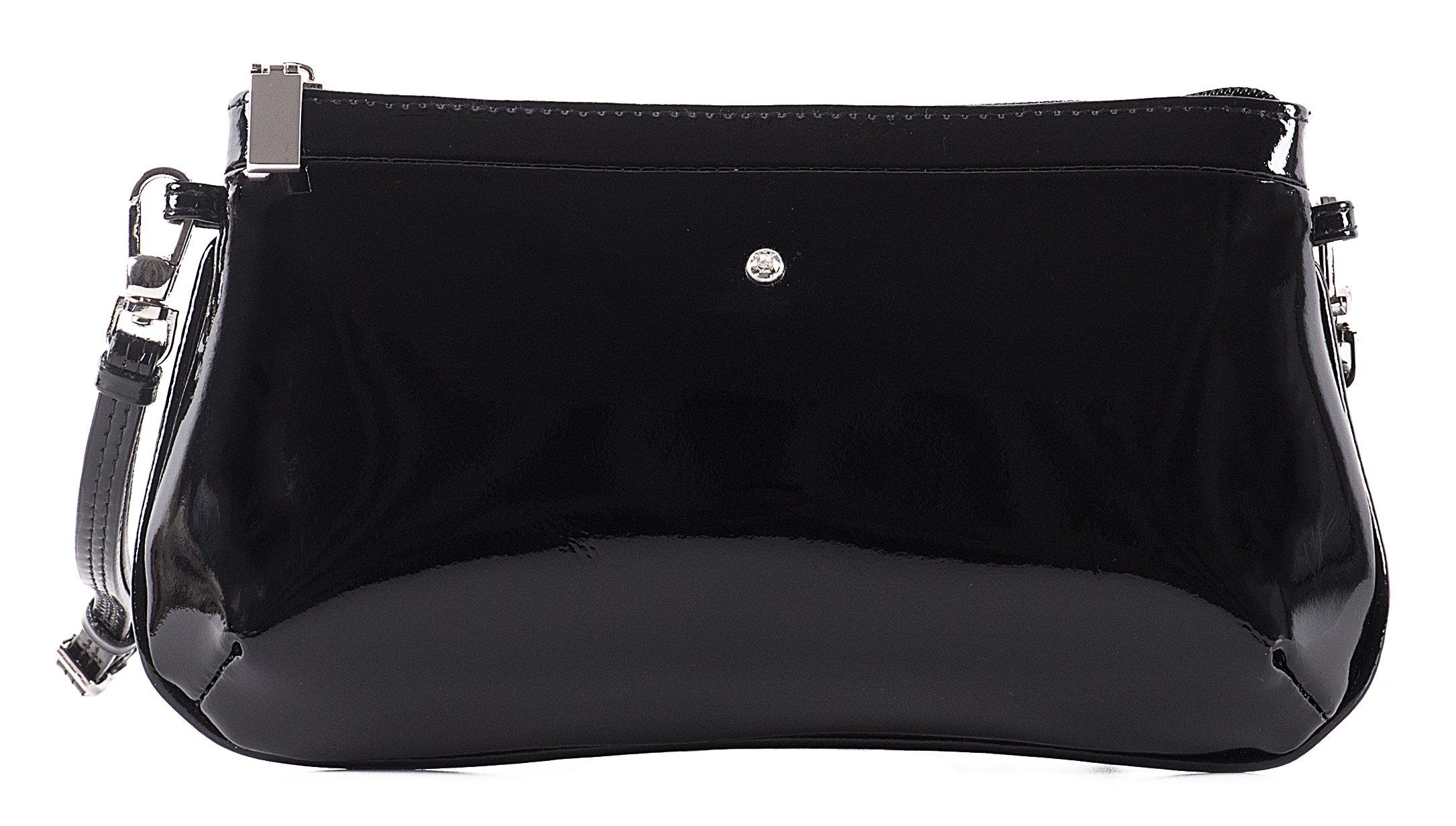 Malá lakovaná kožená kabelka spoločenská crossbody Wojewodzic čierna  3GD45 PL01 c061e0ac33f