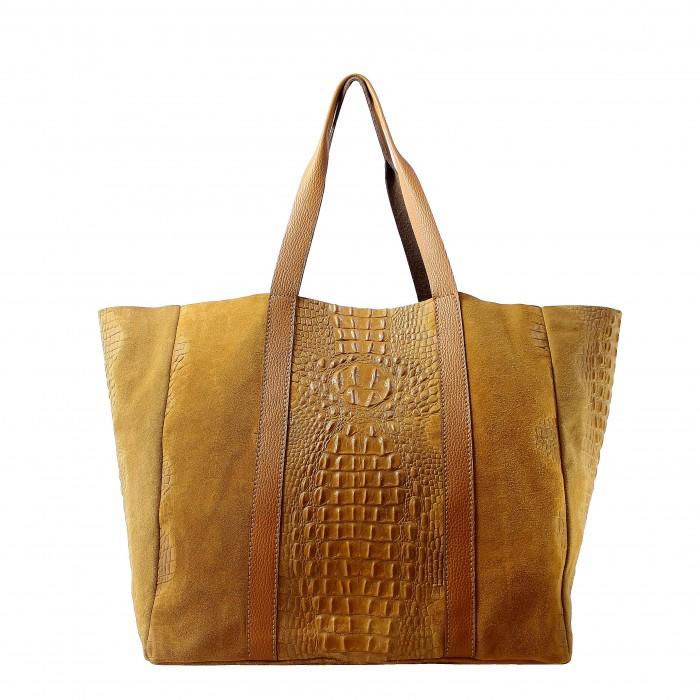 Kožená velká krokodýlí koňakově hnědá taška na rameno janesi 2v1 ... 70471563613
