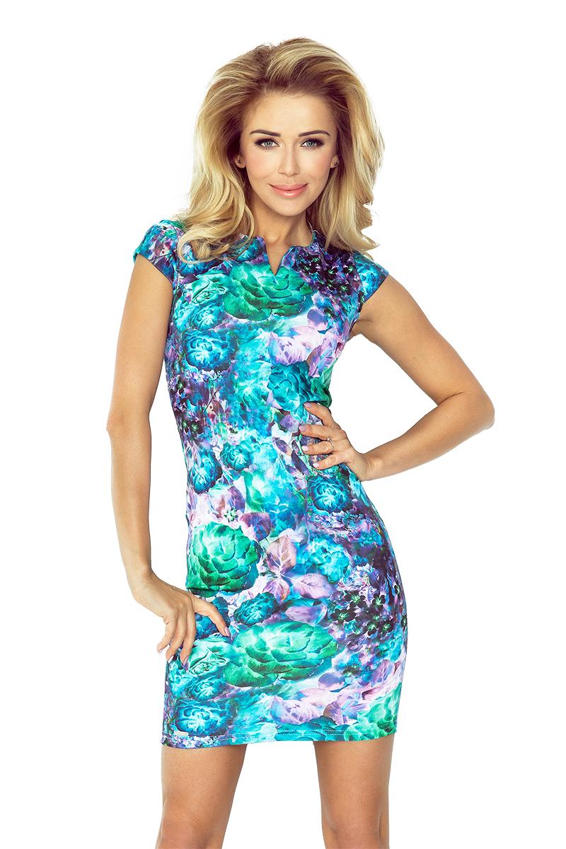a59817445 numoco Společenské dámské šaty s krátkým rukávkem krátké květované ...