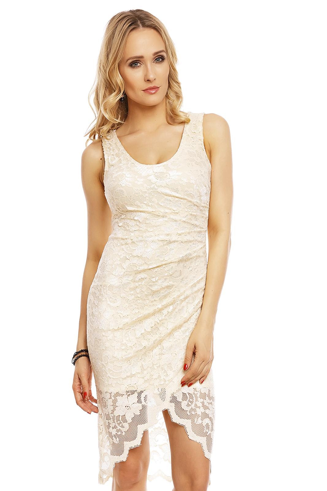 Společenské šaty MAYAADI Deluxe krajkové s asymetrickou sukní krémové 93e46f076d6