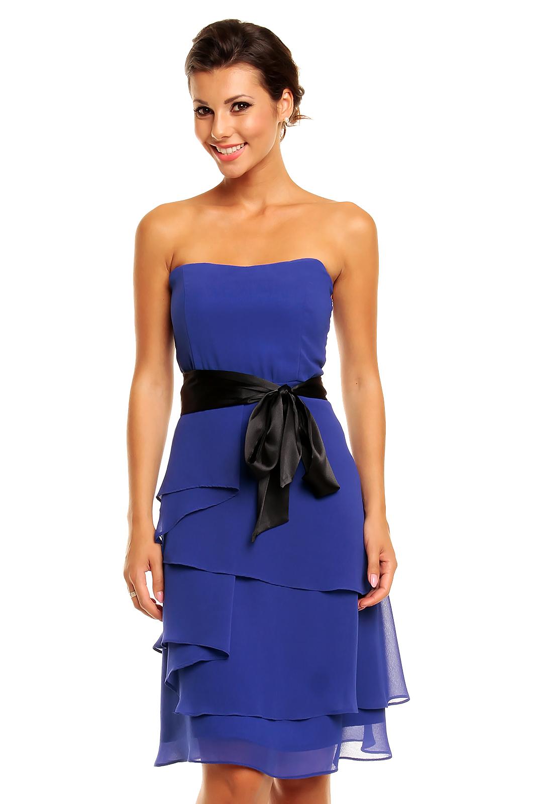 2482614ef1f Společenské šaty korzetové značkové MAYAADI s mašlí a sukní s volány modré