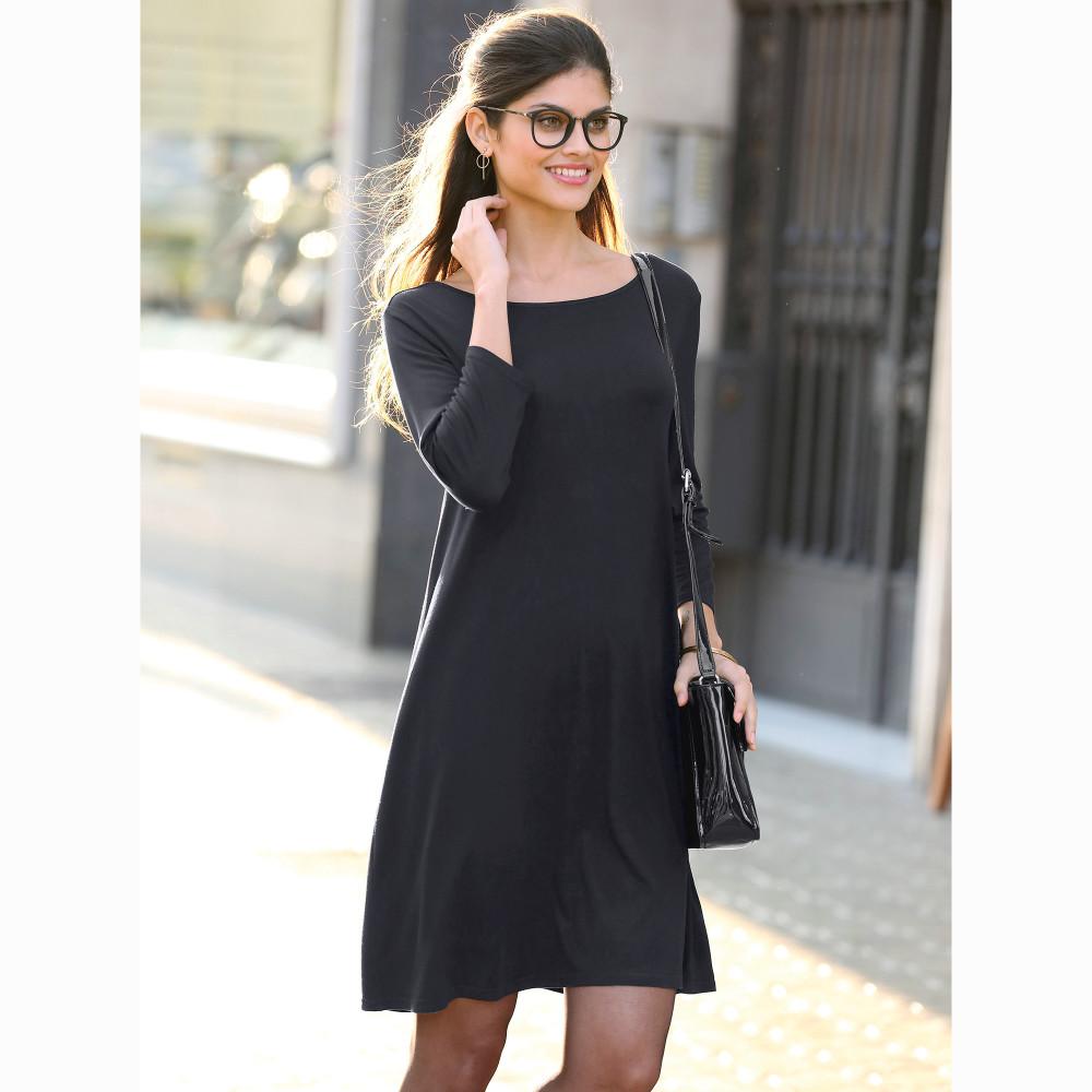 d4607c008bf2 VENCA Jednofarebné krátke šaty s 3 4 rukávmi čierna S - Glami.sk