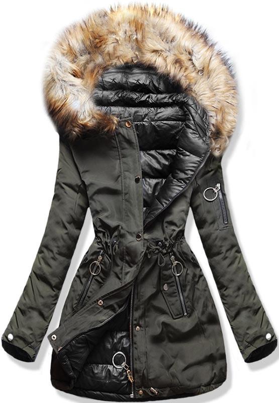 MODOVO Dámska zimná obojstranná bunda s kapucňou W-707 khaki-čierna ... c7838e35220