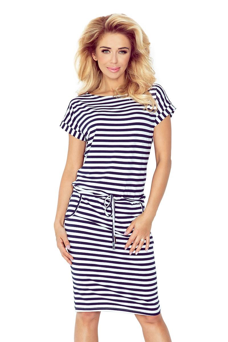 NUMOCO šaty dámské 139-2 modrobílé pruhy - Glami.cz f090bbc833