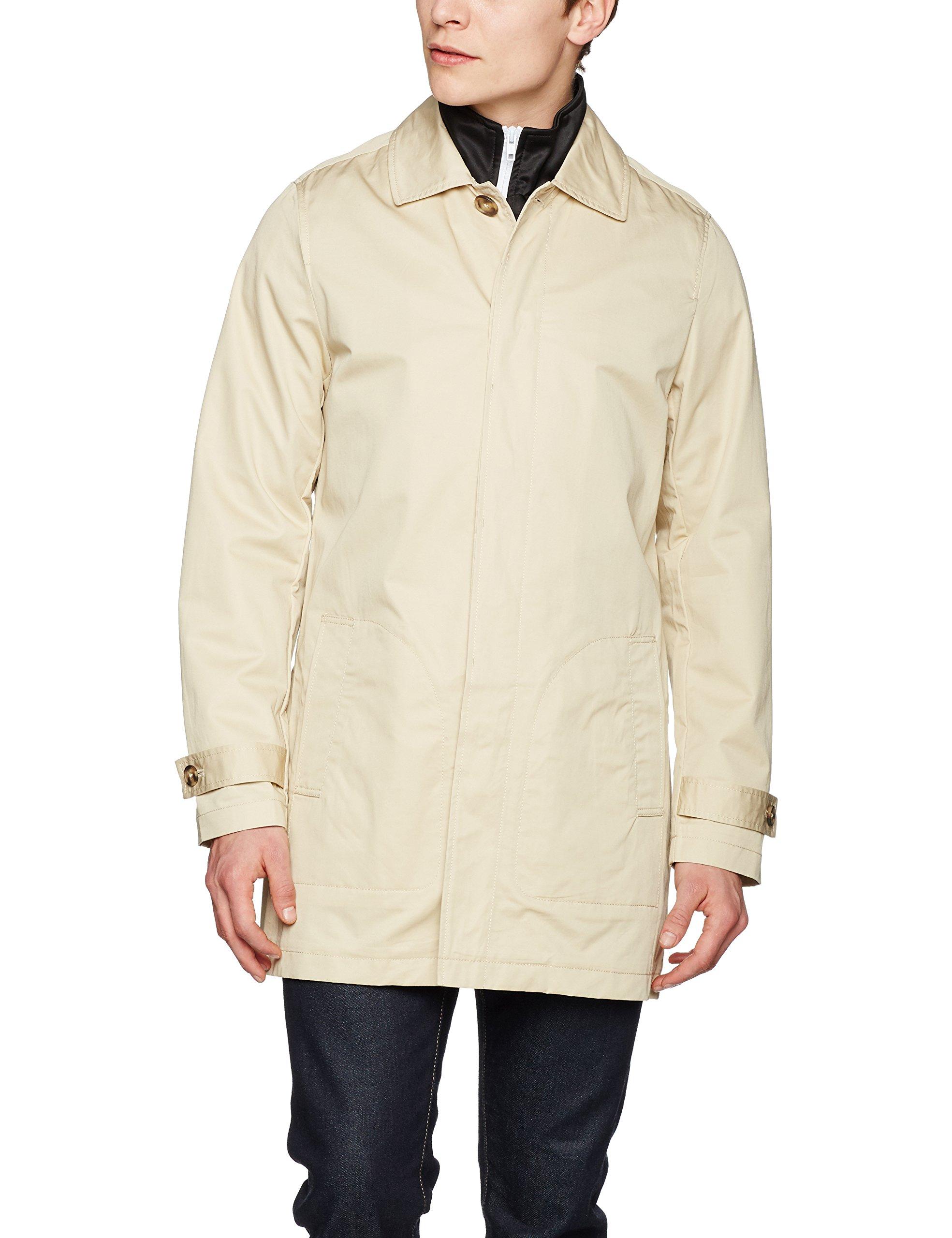 Urban Classics Herren Mantel Gabardine Coat, Elfenbein (Sand 208), Small 9974348eab