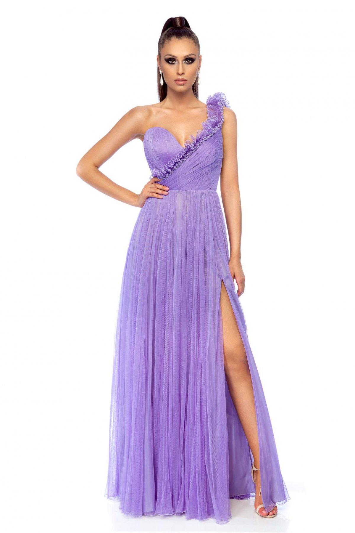 Lila StarShinerS alkalmi ruha egy vállas szivacsos mellrésszel ... 9b5838338c
