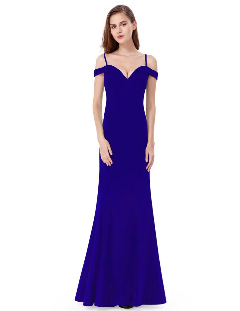 14e81b99525 Ever-Pretty Modré dlouhé elegantní dámské šaty s odhalenými rameny ...