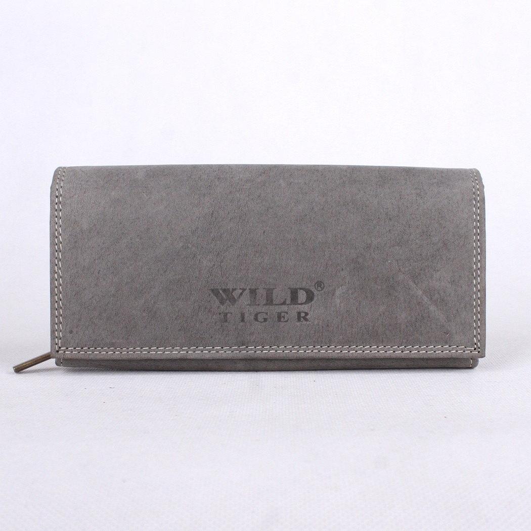30e7ac57439 Kožená dámská peněženka Wild Tiger XL šedá