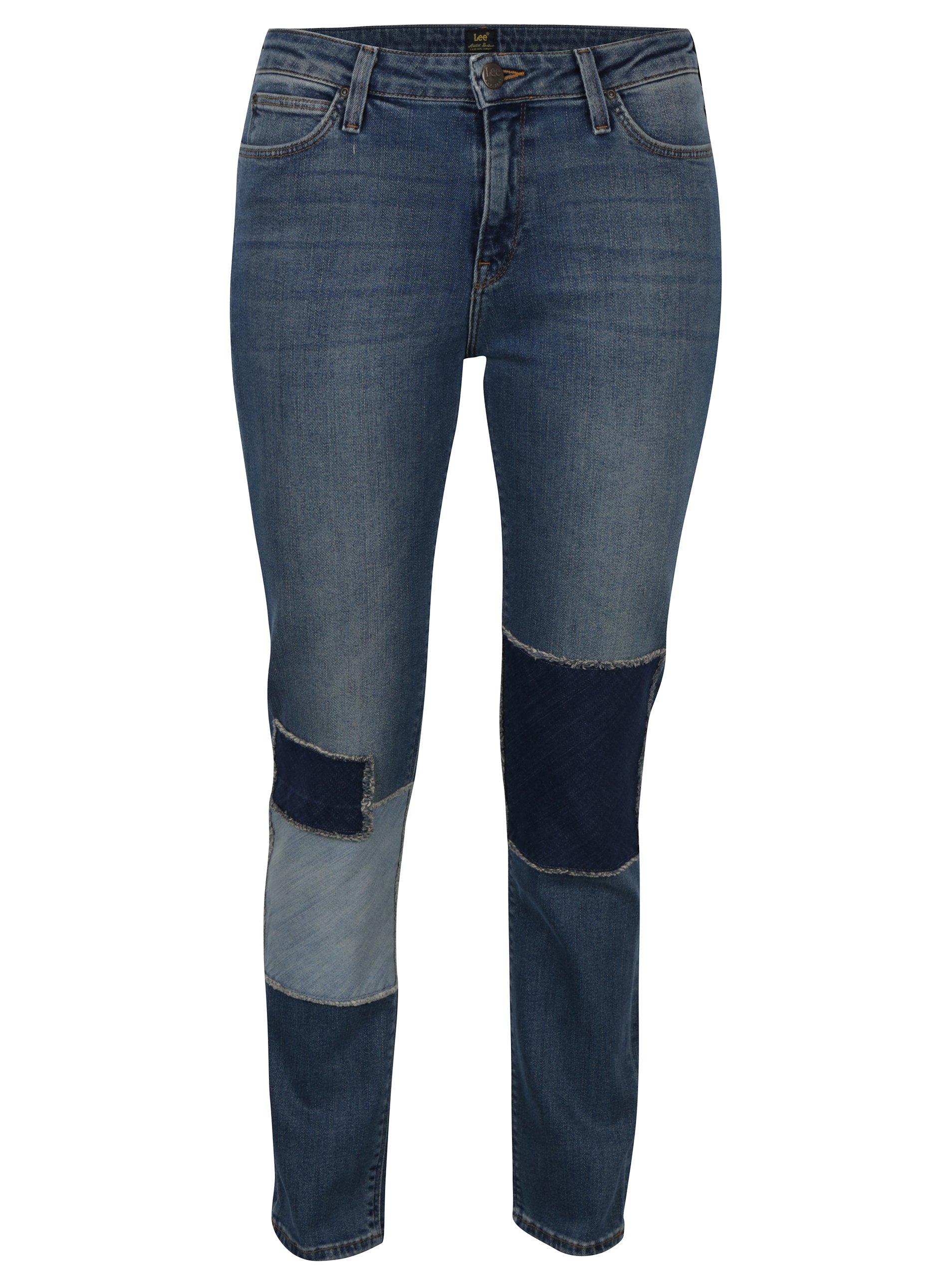 7bebb486517 Modré dámské straight džíny se záplatami a vyšisovaným efektem Lee Elly. Modré  dámské straight džíny ...