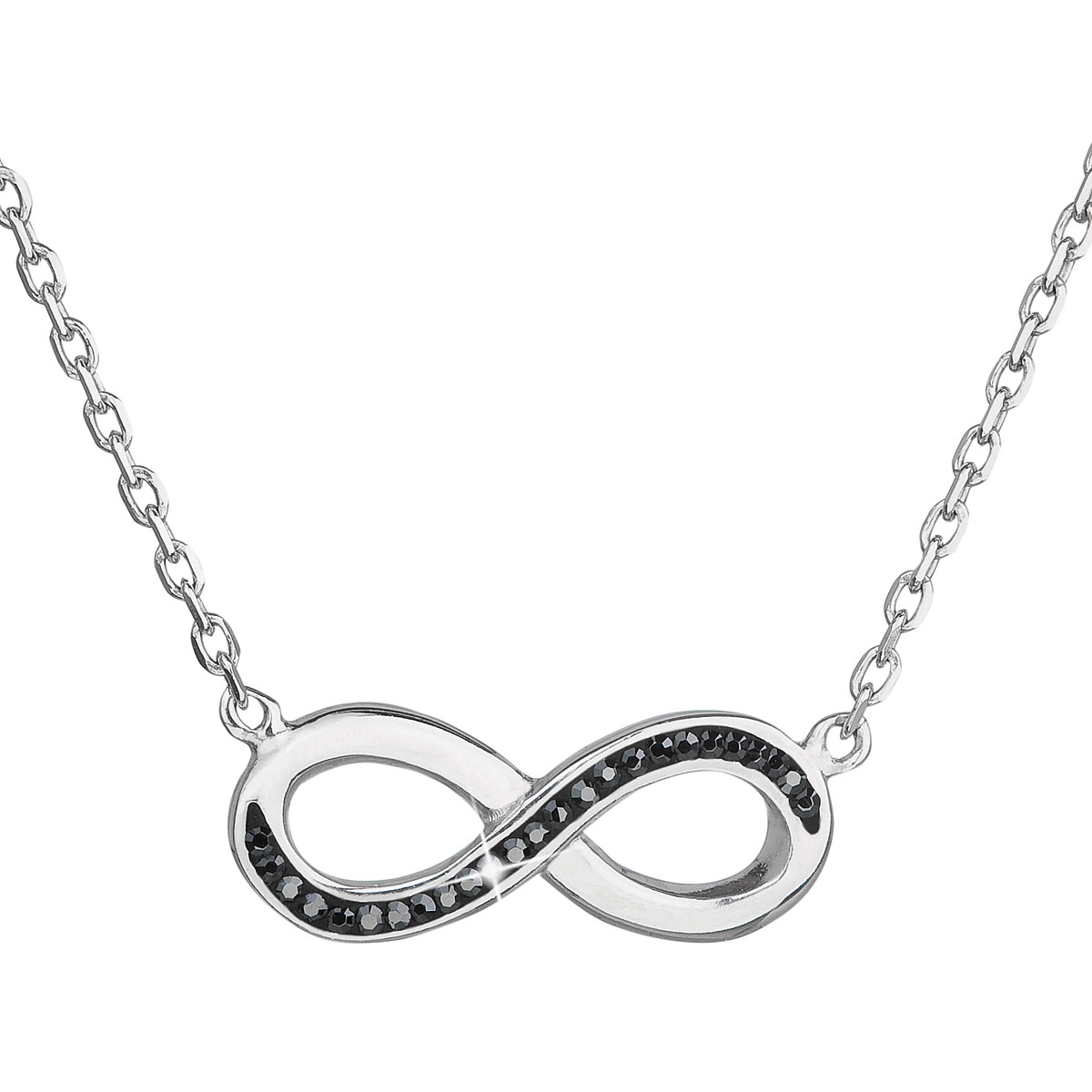 Evolution Group s.r.o. EVOPUTION GROUP Stříbrný náhrdelník s krystaly  Swarovski černé infinity ac575ccfd41