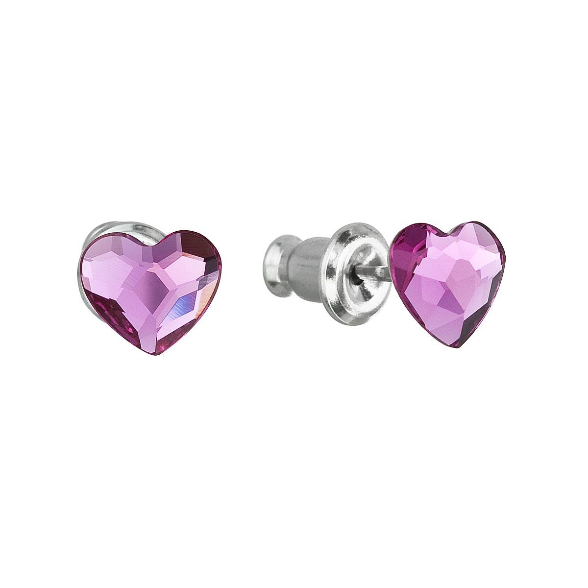 EVOLUTION GROUP Náušnice bižutéria so Swarovski krištáľmi ružové srdce  51050.3 fuchsia e253c6f625c