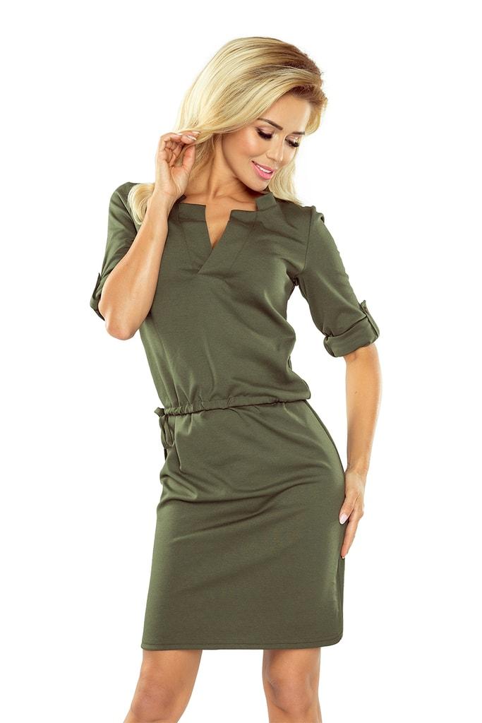 ... Numoco Dámské šaty Agata s límečkem - khaki. -7% -5% f2f220c339