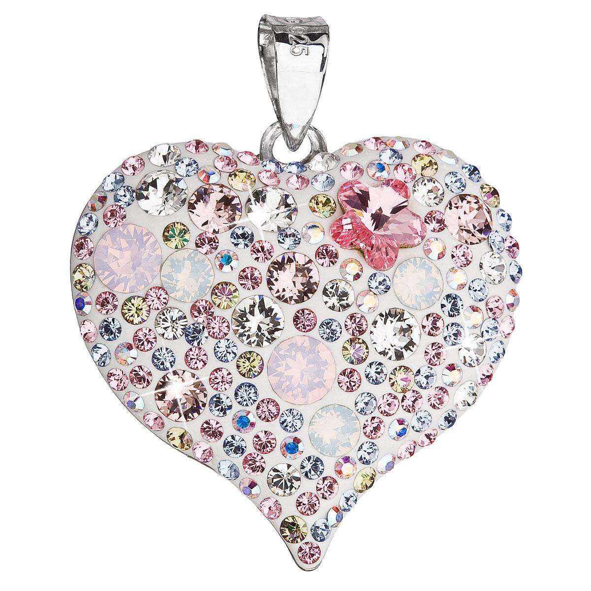 EVOLUTION GROUP Stříbrný přívěsek s krystaly Swarovski růžové srdce  34181.3. 1 0c97e4e9c98
