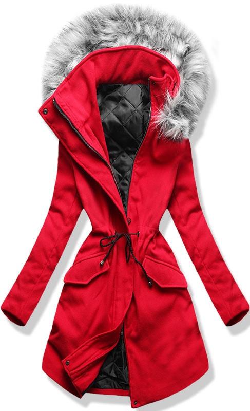 MODOVO Dlouhý dámský kabát s kapucí 22172 červený - Glami.cz 6c2973ac8c6