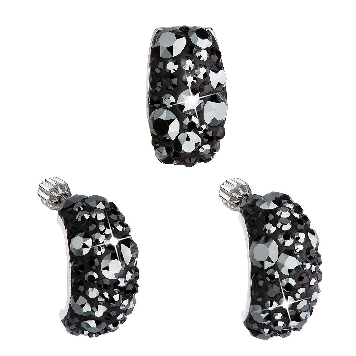 EVOLUTION GROUP Sada šperkov s krištáľmi Swarovski náušnice a prívesok  čierny obdĺžnik 39116.5 784c65a9561