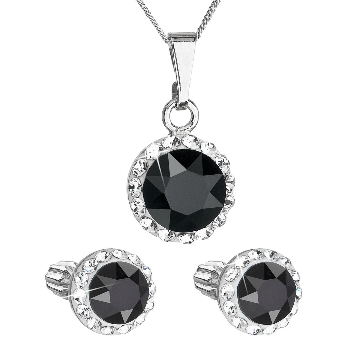 EVOLUTION GROUP Sada šperkov s krištáľmi Swarovski náušnice a prívesok  čierne okrúhle 39152.3 2b5d4a94689