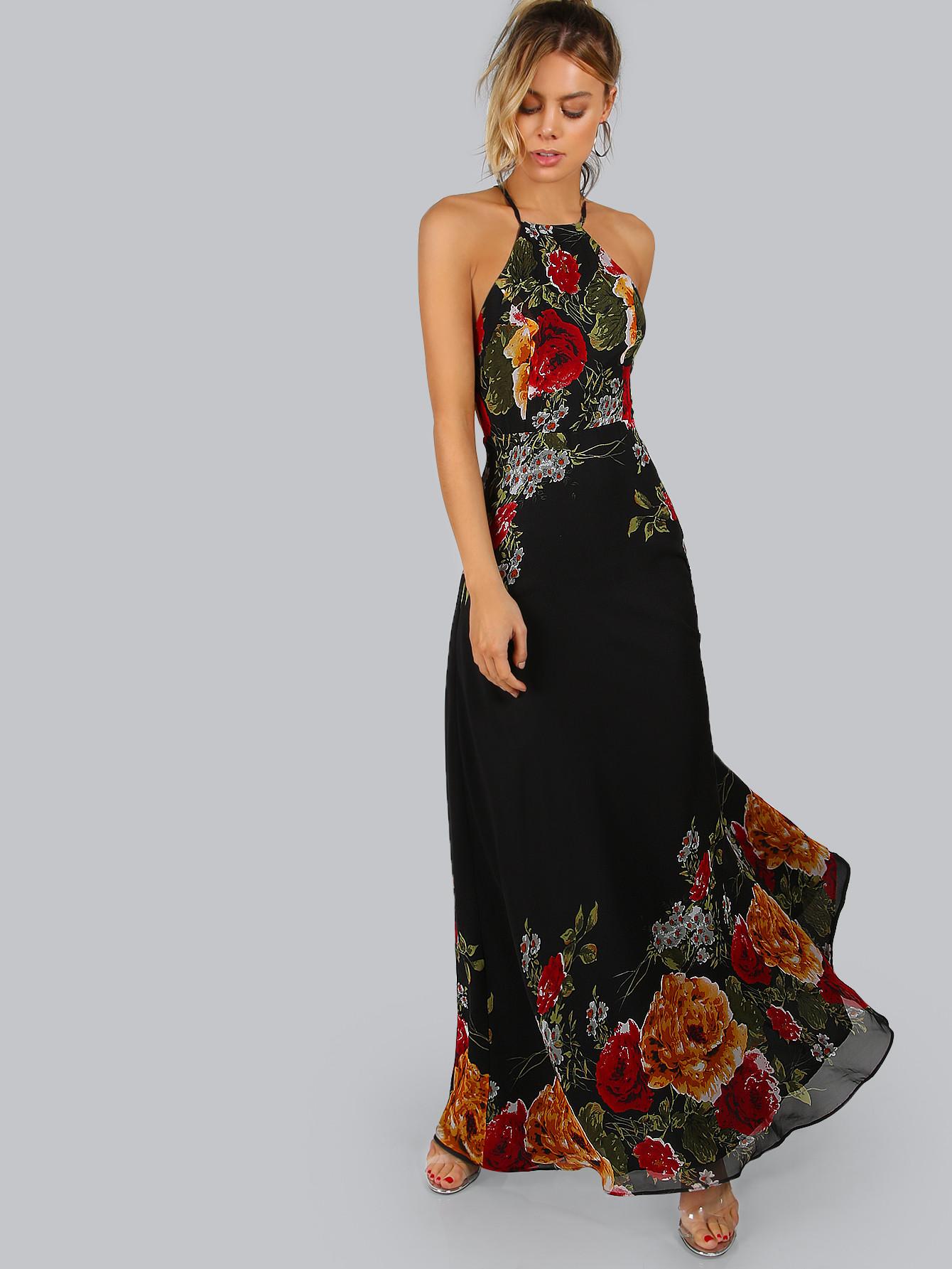 BadLady.sk Dlhé čierne kvetované šaty - Glami.sk 0e257ddf558