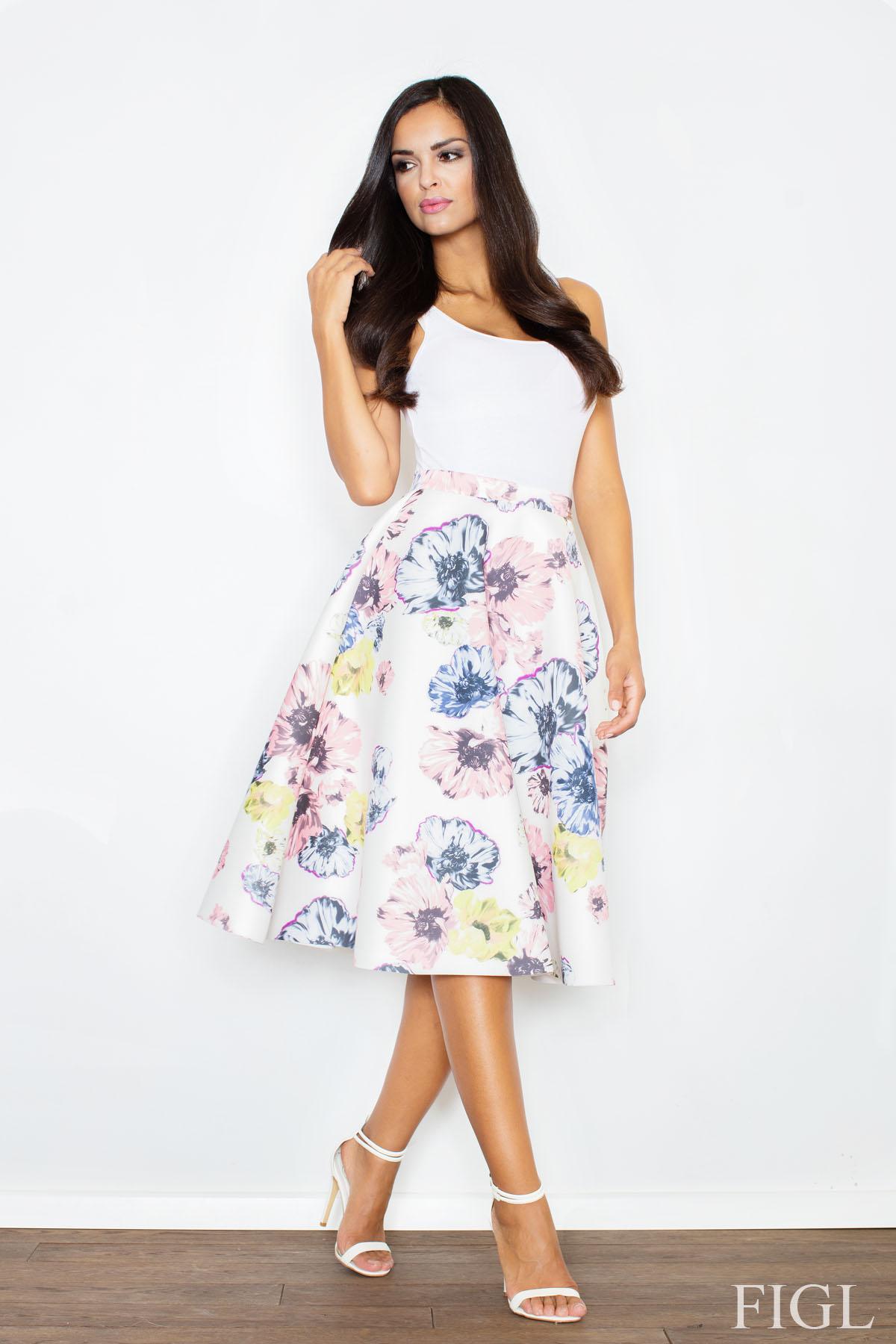 c1b0839b3932 FIGL Dámska retro sukňa s potlačou kvetov v midi dĺžke M383 - Glami.sk