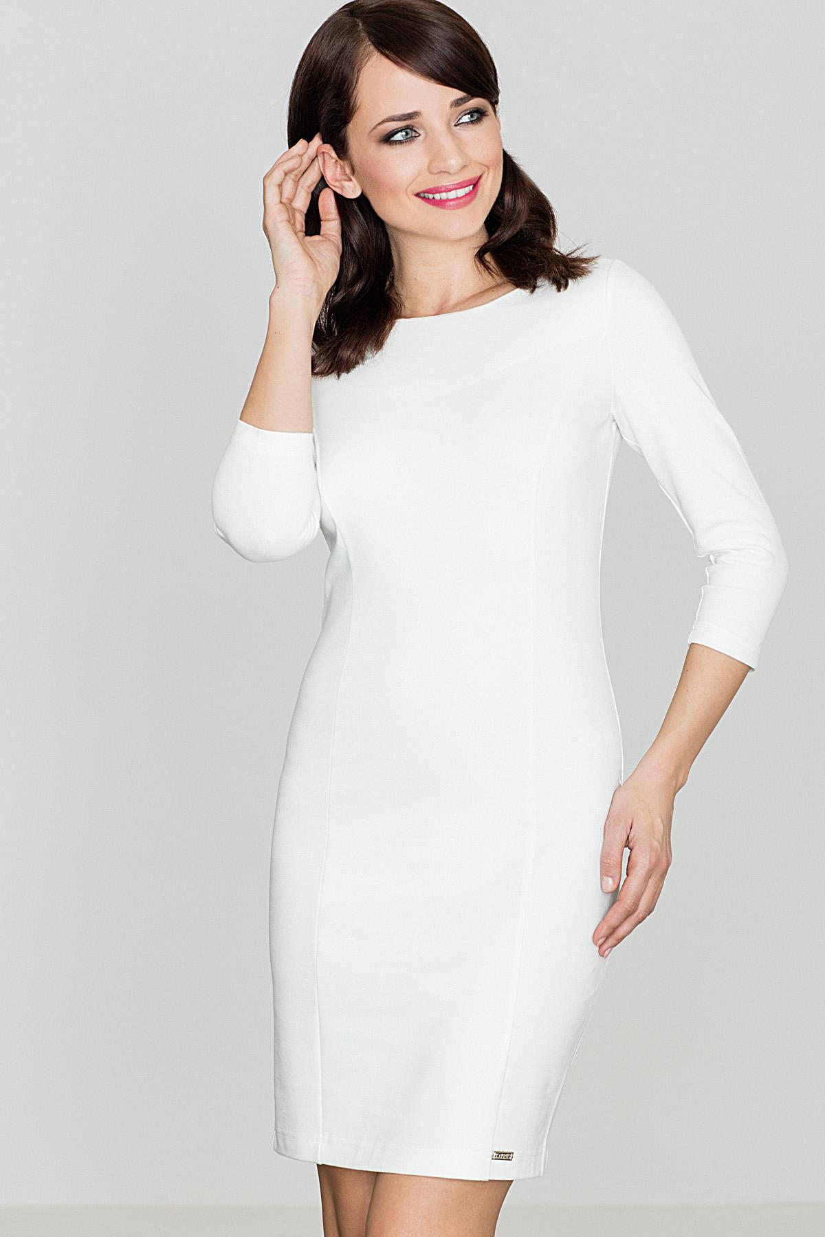 1a7696369f3c Lenitif Dámske biele púzdrové šaty s 3 4 rukávom K317 - Glami.sk