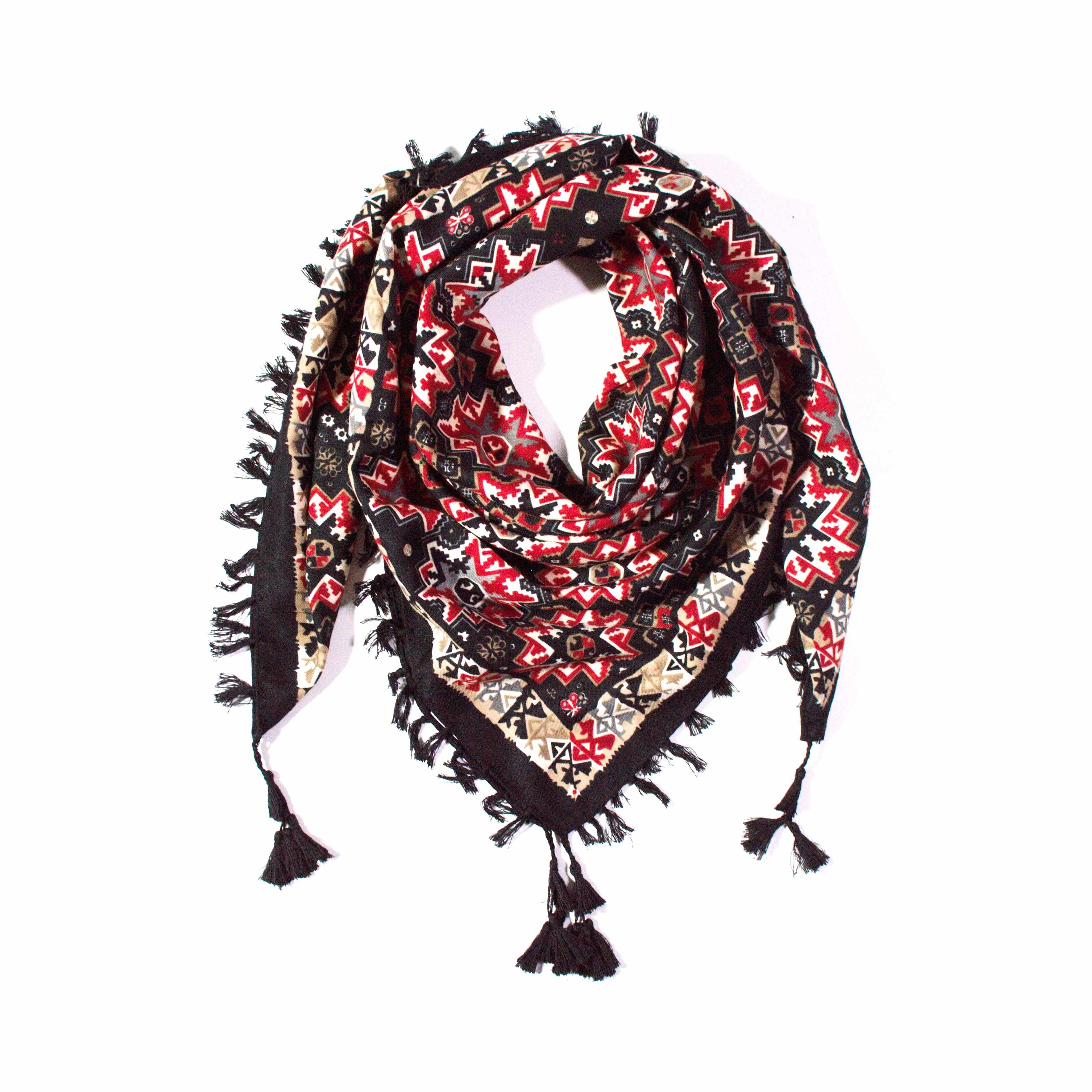 Y-wu Čtvercový šátek s třásněmi vzor 100cm 100cm 2F2-121361. 1 fa49a71678
