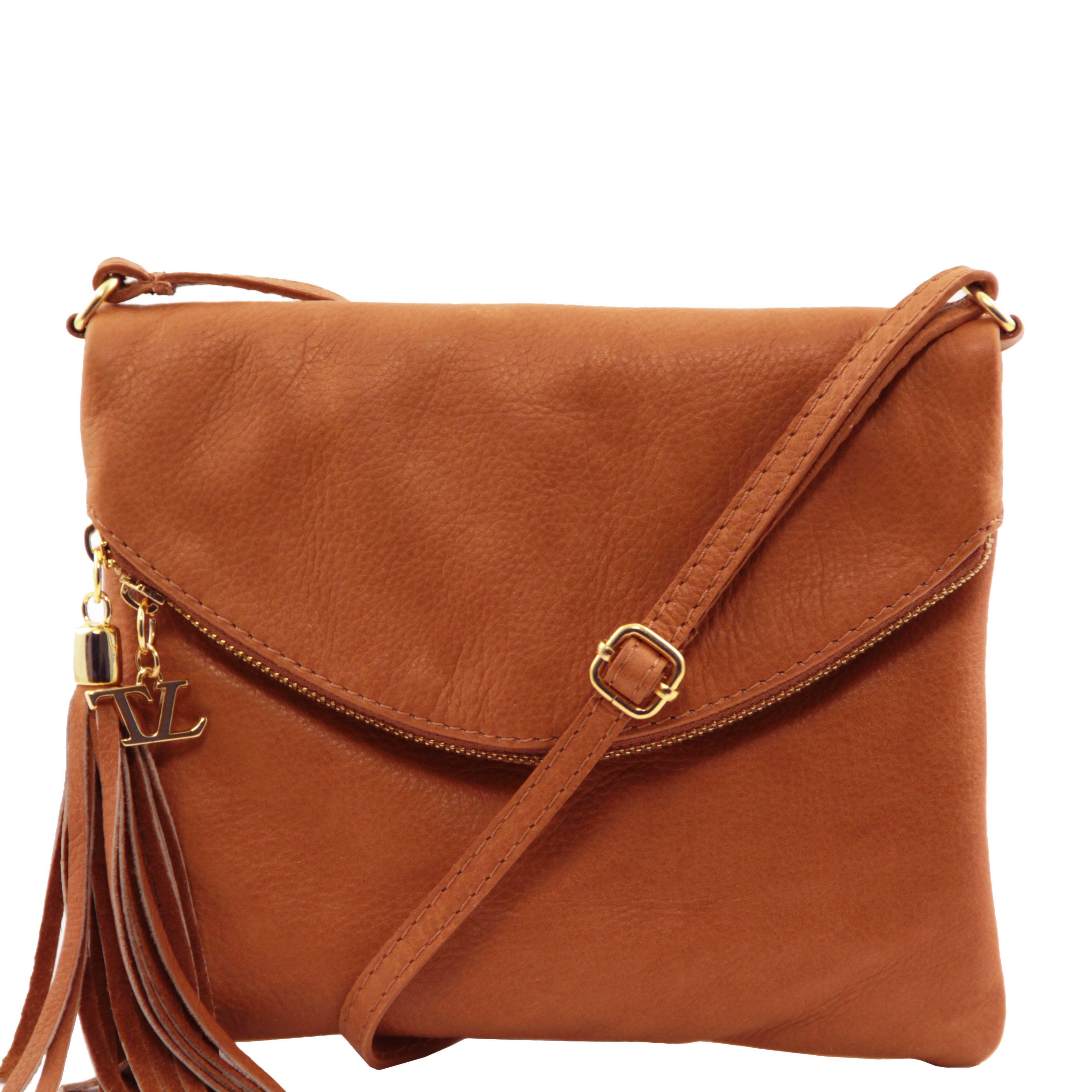 7229b386bd TL Young bag-Taška přes rameno - s koženým střapcem TUSCANY LEATHER -  Koňaková