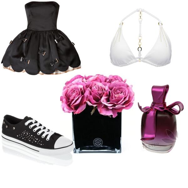 černé šaty,plavky,bota,vonavka,růže