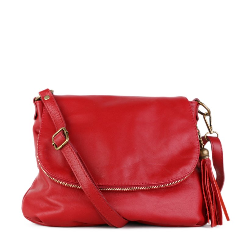 ITALSKÉ Trendová kožená kabelka crossbody z Itálie červená Angela ... f498a32d6ff