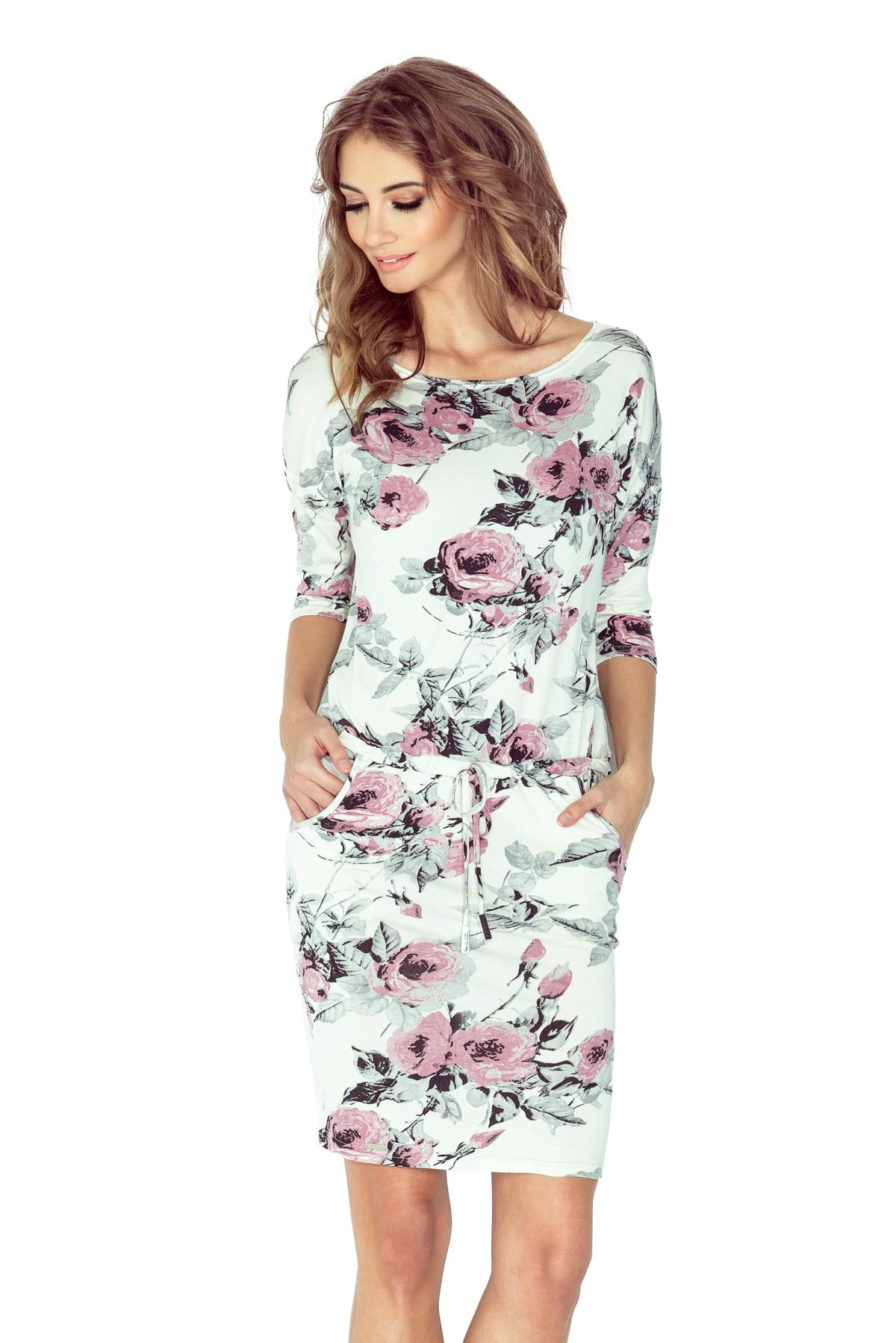 numoco Dámské sportovní šaty netopýří střih s kapsami na zavazování  květované růžové. 1 282280d036