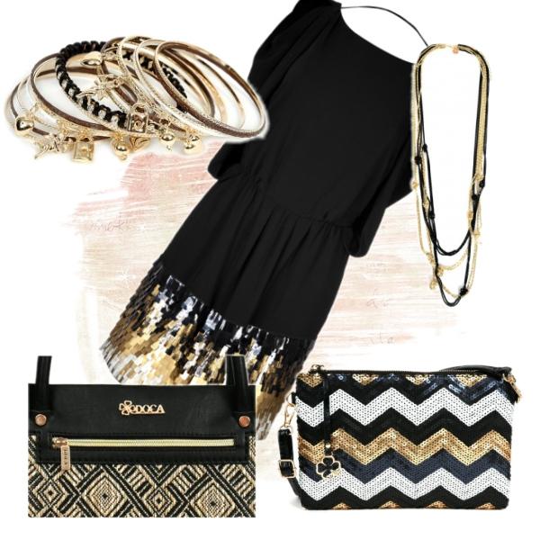 gold white black
