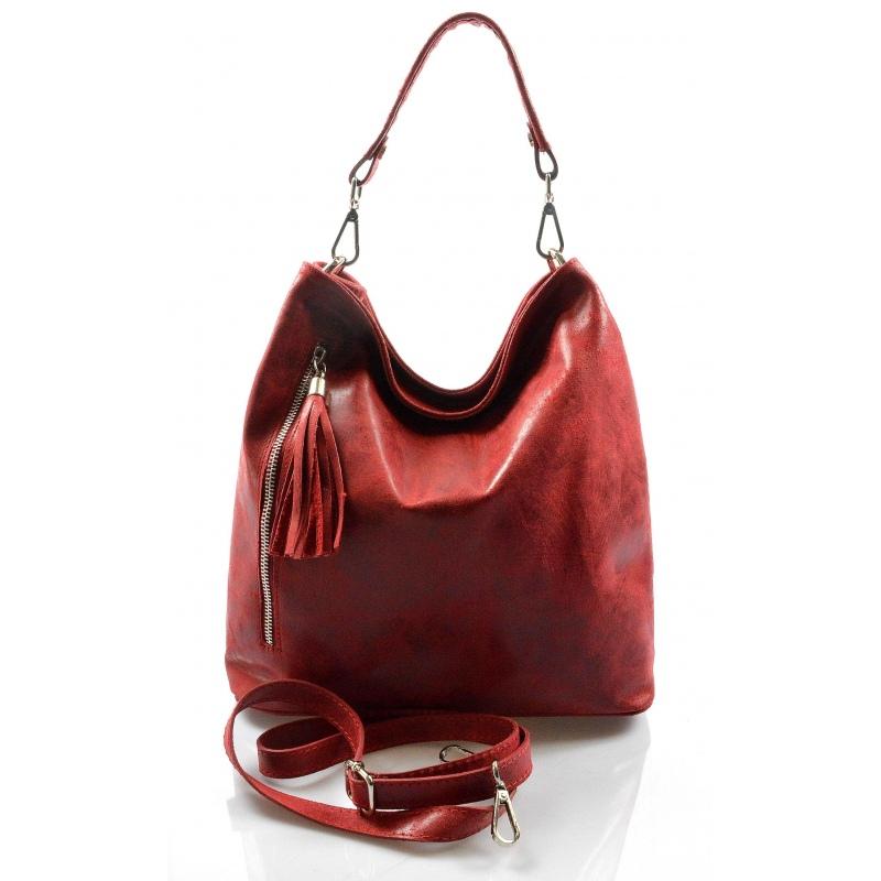 ... Kožená červená bordó crossbody kabelka cez rameno galine VERA PELLE. -15%  -23% 8243aa91064