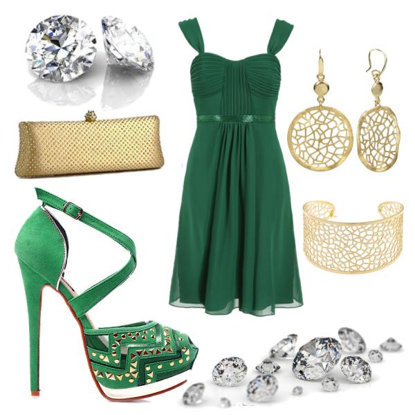 zelená a zlatá