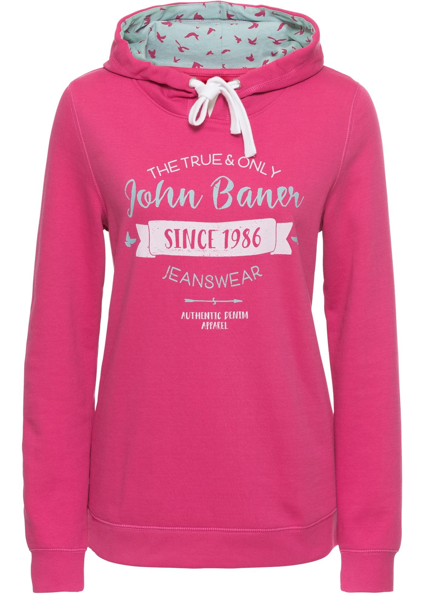 Shirt Baner Longues Sweat Pour Manches John Femme Fuchsia Capuche Jeanswear À Imprimé Bonprix 1Ix1dRqwz