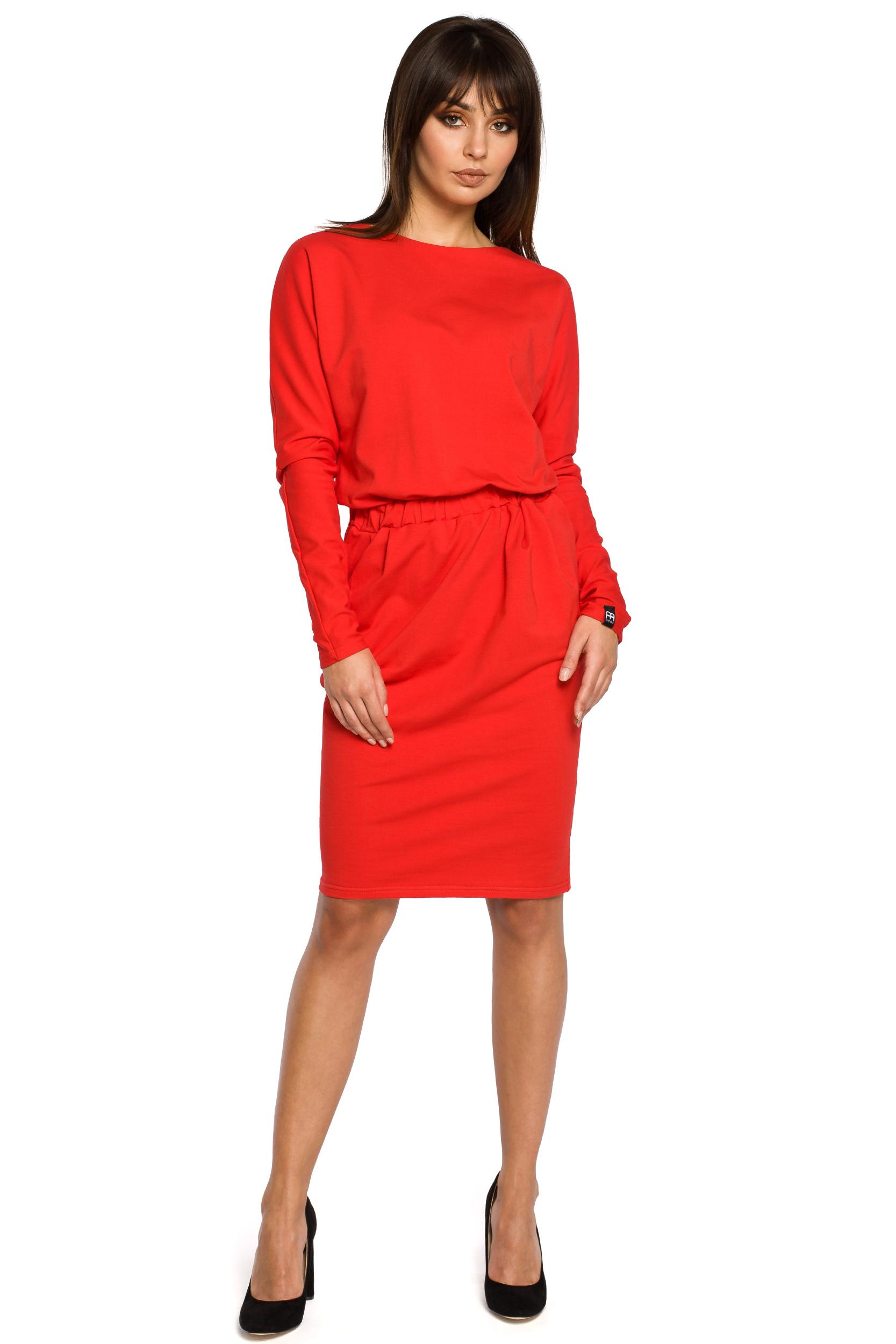 bccadfcca8cb BE WEAR Červené úpletové šaty s dlhým rukávom a elastickým pásom ...