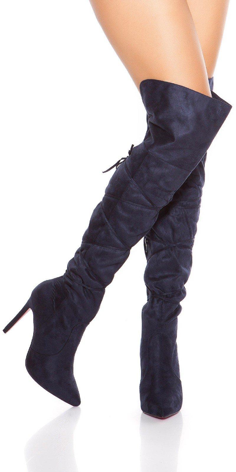 In-Style Dámske semišové čižmy - Vysoké nad kolená so šnúrkami ... cf5582e9387
