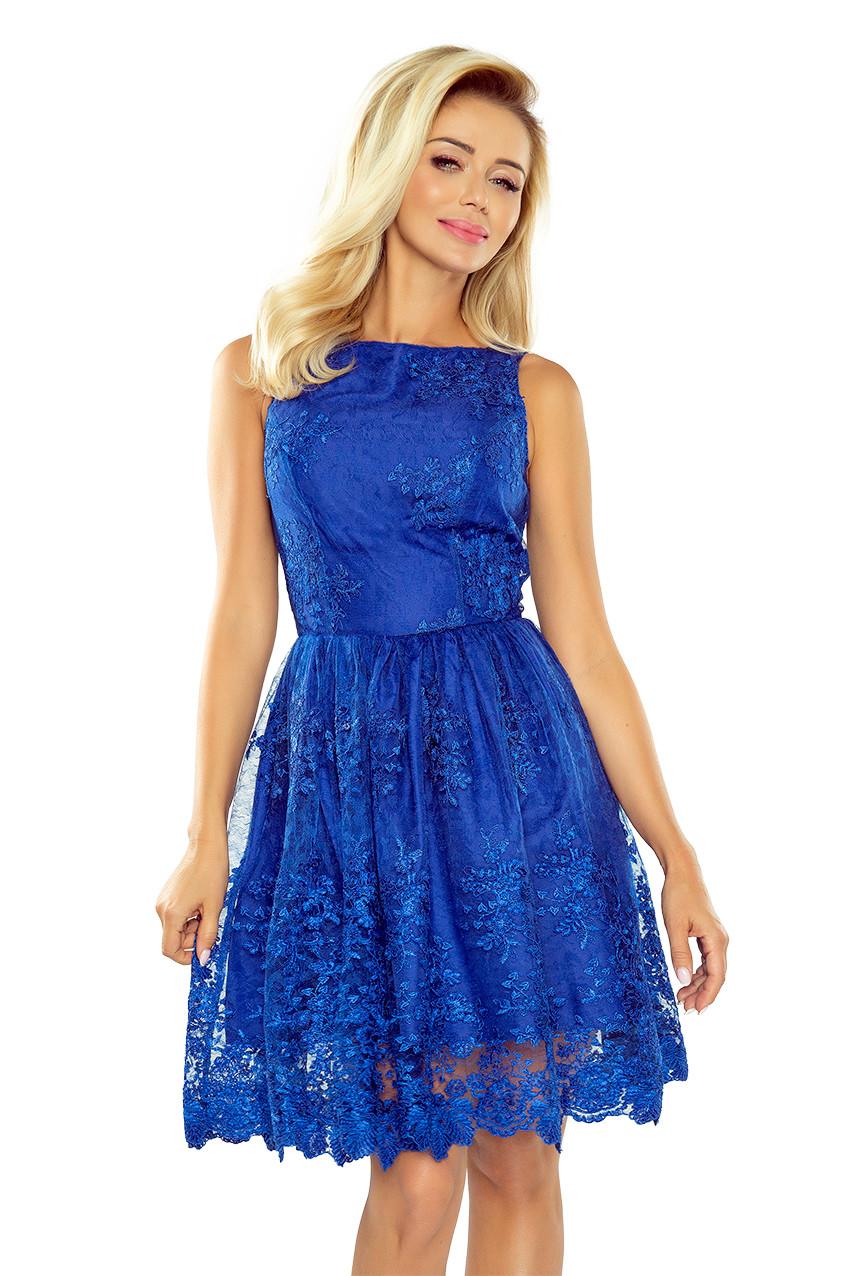 4104cf62f2b numoco Společenské dámské šaty středně dlouhé krajkové modré - Glami.cz