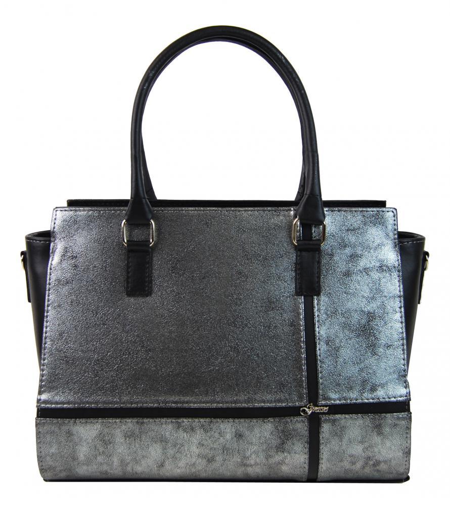 d298e010e3 Černo-stříbrná patinovaná elegantní dámská kabelka S679 GROSSO ...